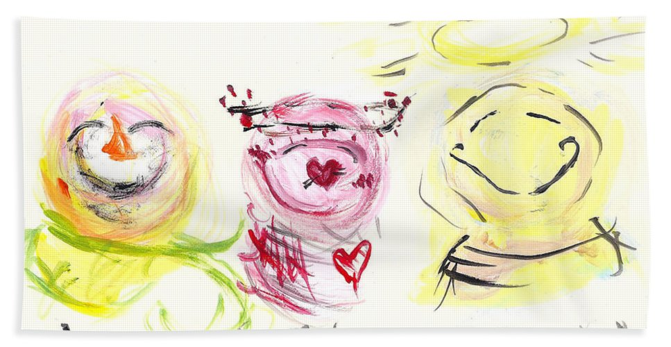 Snowman Bath Sheet featuring the painting Laugh Love Glow by Molly Picklesimer