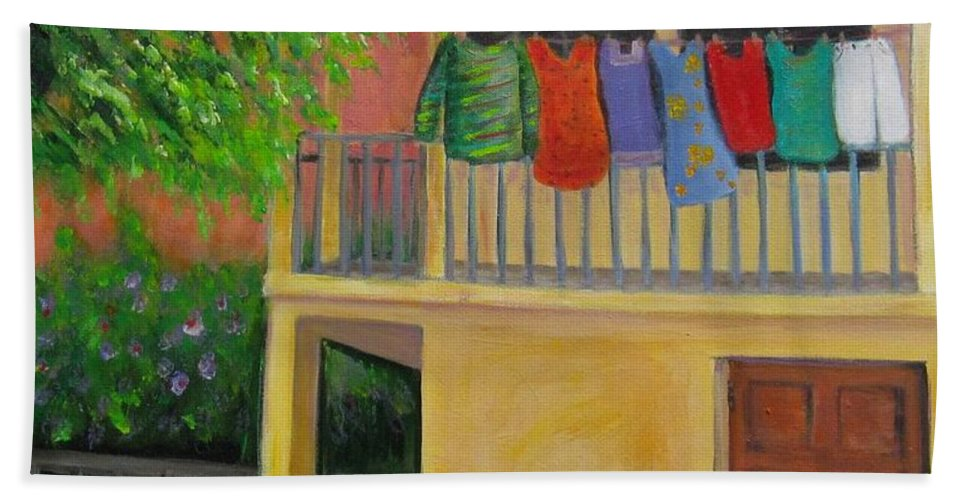Laundry Bath Towel featuring the painting Laundry Day by Laurie Morgan