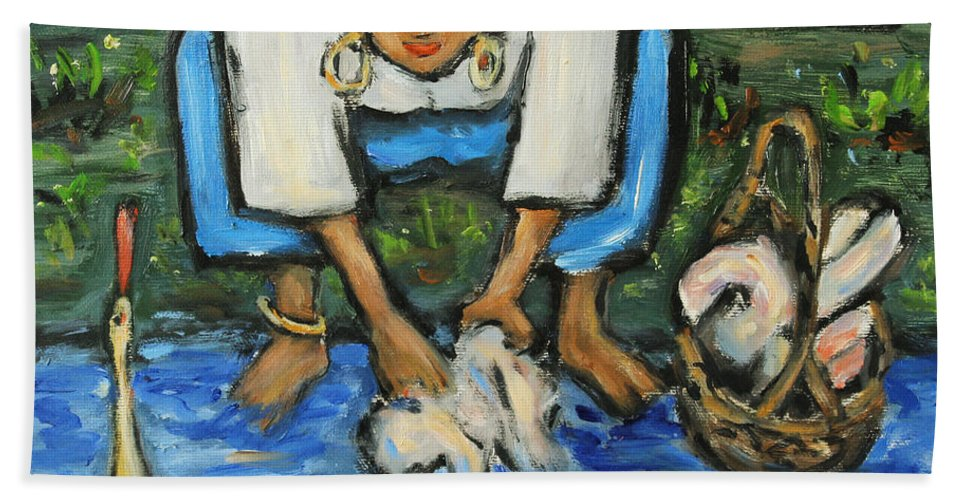 Figurative Hand Towel featuring the painting Laundry Girl by Xueling Zou