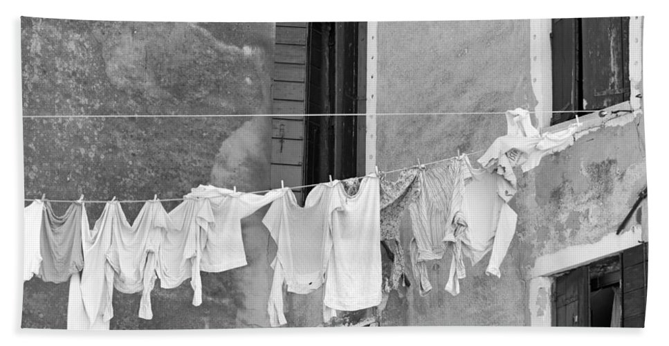Horizontal Hand Towel featuring the photograph Laundry I Black And White Venice Italy by Sally Rockefeller