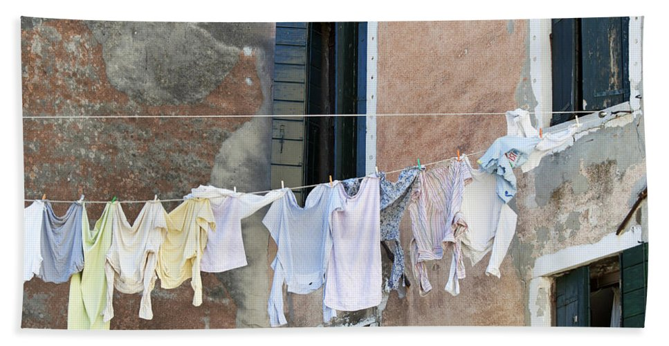 Horizontal Hand Towel featuring the photograph Laundry I Color Venice Italy by Sally Rockefeller
