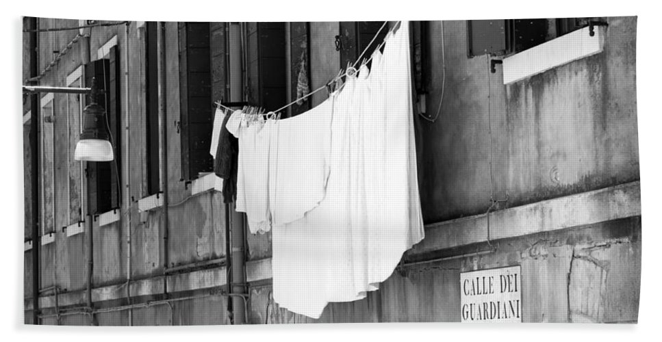 Horizontal Hand Towel featuring the photograph Laundry IIi Black And White Venice Italy by Sally Rockefeller