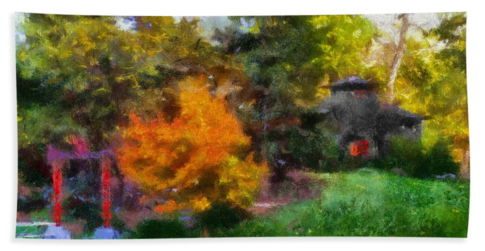 Autumn Bath Sheet featuring the photograph Laura Bradley Park Japanese Garden 02 by Thomas Woolworth