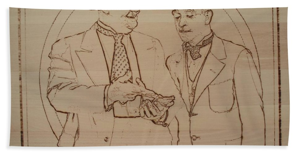 Pyrography Bath Sheet featuring the pyrography Laurel And Hardy - Thicker Than Water by Sean Connolly