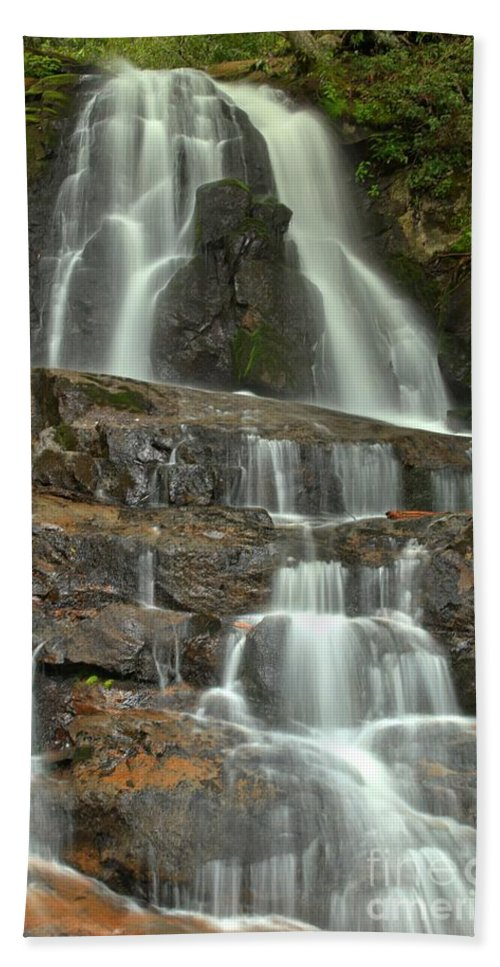 Laurel Falls Hand Towel featuring the photograph Laurel Falls Cascades by Adam Jewell