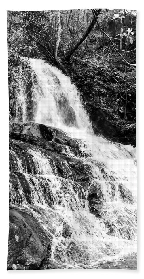 Laurel Falls Hand Towel featuring the photograph Laurel Falls Smoky Mountains 2 Bw by Cynthia Woods