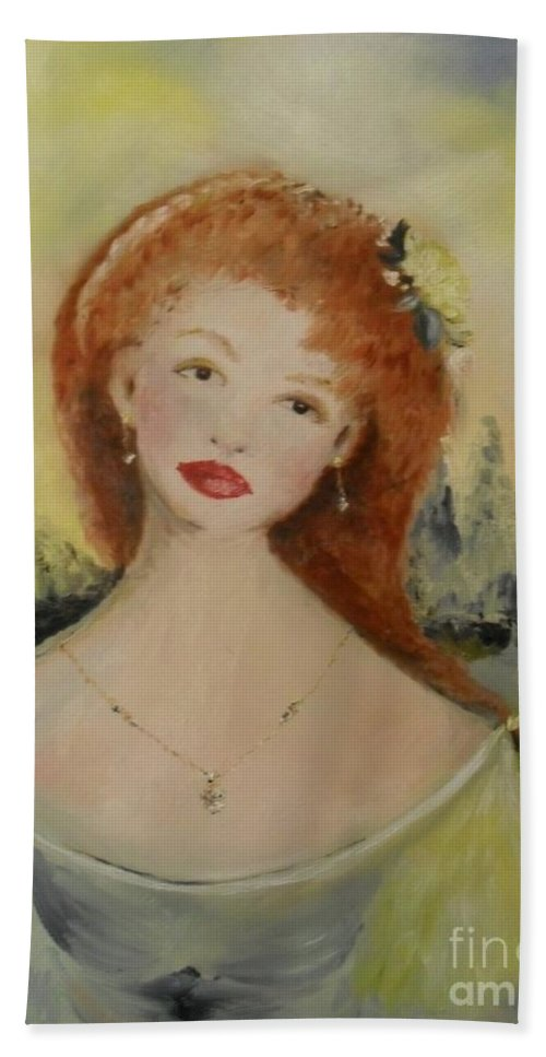Woman Hand Towel featuring the painting Laurel by Laurie Lundquist
