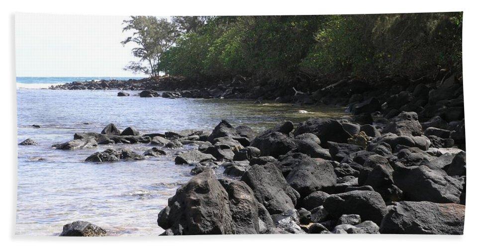 Ocean Bath Towel featuring the photograph Lava Rocks by Mary Deal