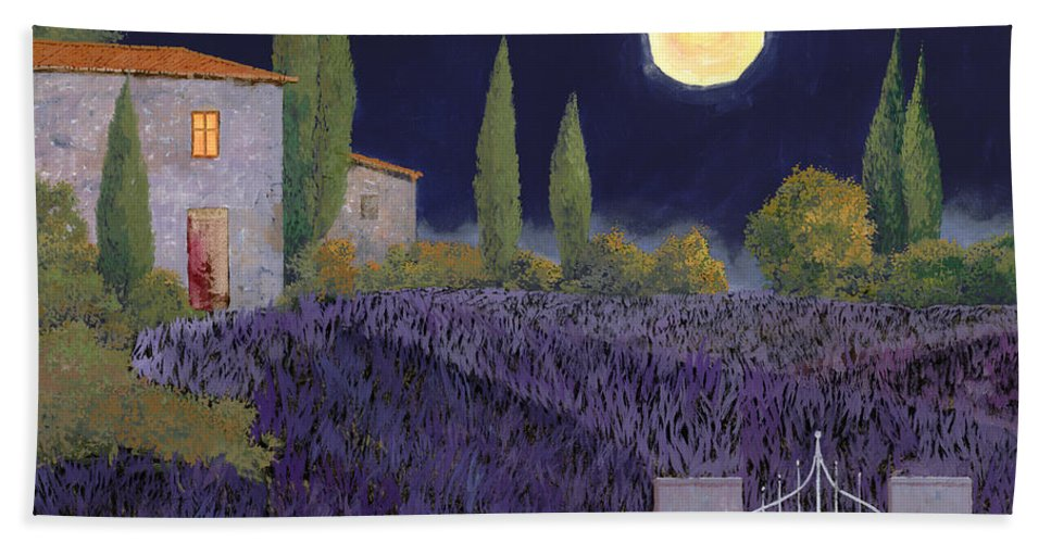 Tuscany Bath Towel featuring the painting Lavanda Di Notte by Guido Borelli