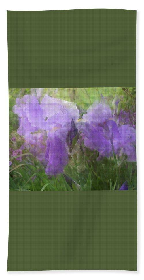 Iris Bath Sheet featuring the photograph Lavender Blue Iris Garden by Mary Wolf