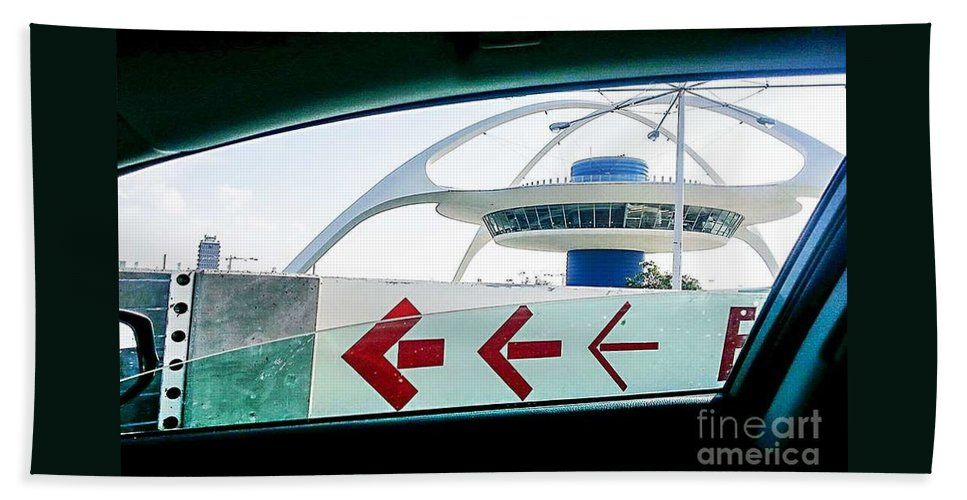 City Hand Towel featuring the photograph Lax Exit Arrows by Fei A
