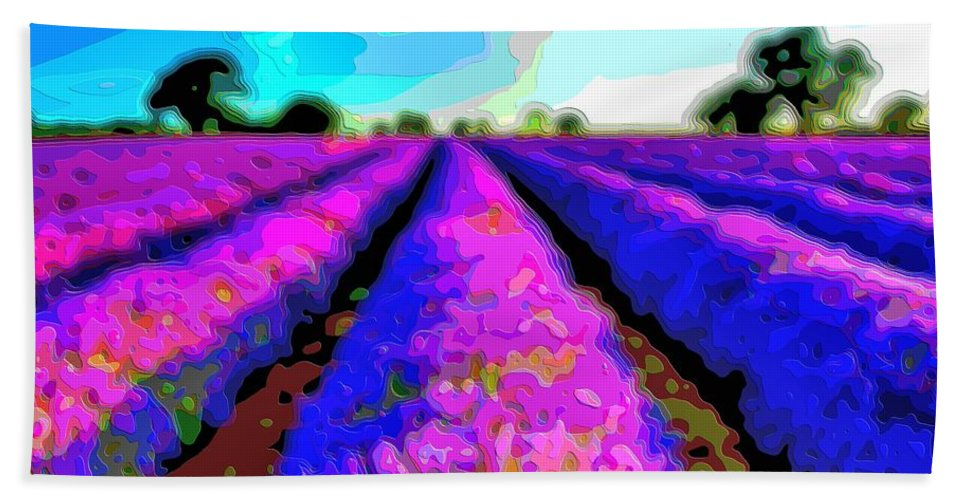 Layer-art Bath Sheet featuring the digital art Layer Landscape Art Lavender Field by Mary Clanahan