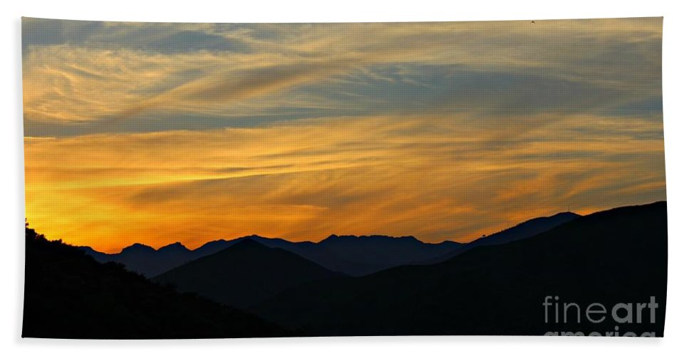 Sunset Bath Sheet featuring the photograph Layers by Clare Bevan