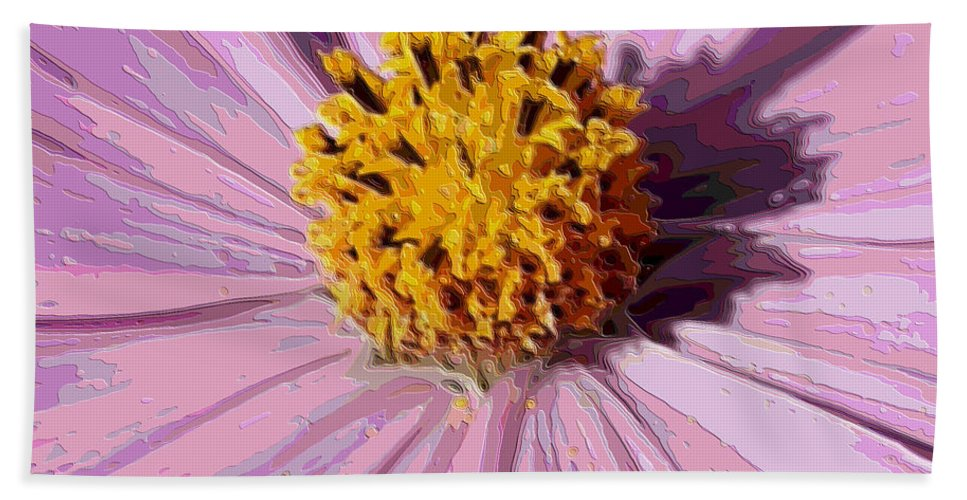 Pink Cosmos Hand Towel featuring the photograph Layers Of A Cosmos Flower by Carol Groenen