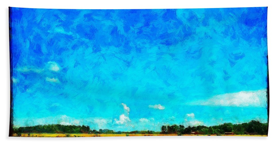 Field Hand Towel featuring the painting Lazy Clouds in the Summer Sun by Sandy MacGowan