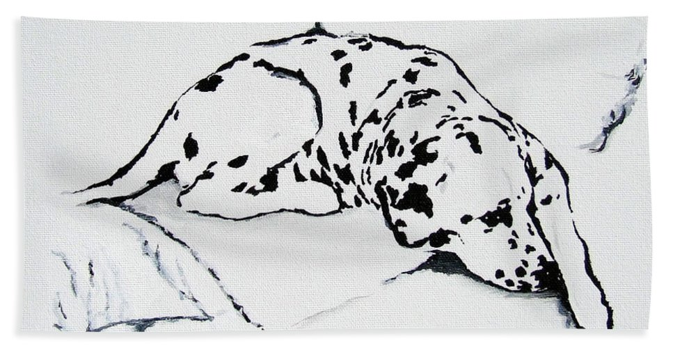 Dogs Hand Towel featuring the painting Lazy Day by Jacki McGovern