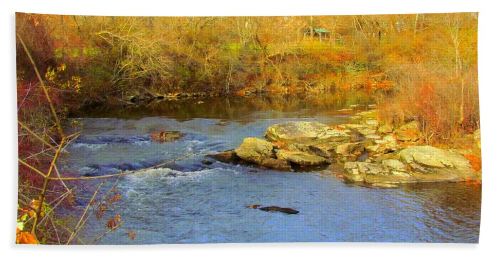 Royal River Hand Towel featuring the photograph Lazy River by Elizabeth Dow