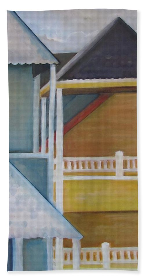Long Bath Sheet featuring the painting Lbi Rooftops by Maria Milazzo