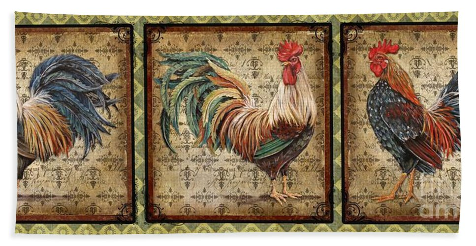 Ing Bath Sheet featuring the painting Le Coq Trio-c by Jean Plout