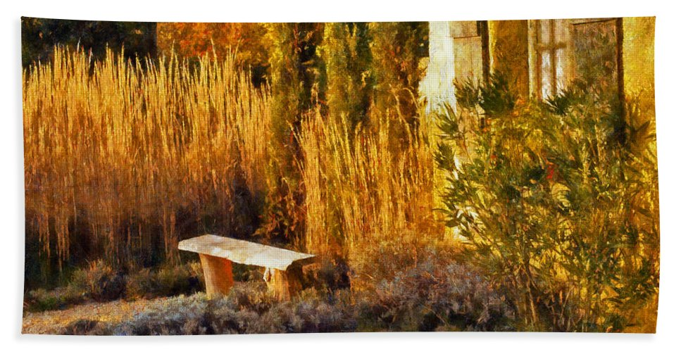 France Hand Towel featuring the digital art Lazy Afternoon Sun by Bel Menpes