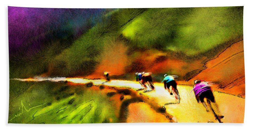 Sports Hand Towel featuring the painting Le Tour de France 02 by Miki De Goodaboom