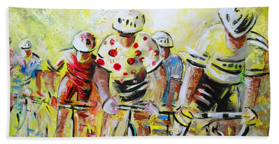 Sports Hand Towel featuring the painting Le Tour De France 07 Acrylics by Miki De Goodaboom