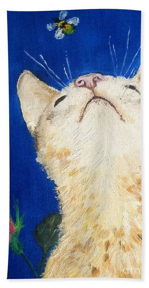 Cats Hand Towel featuring the painting Lea And The Bee by Reina Resto