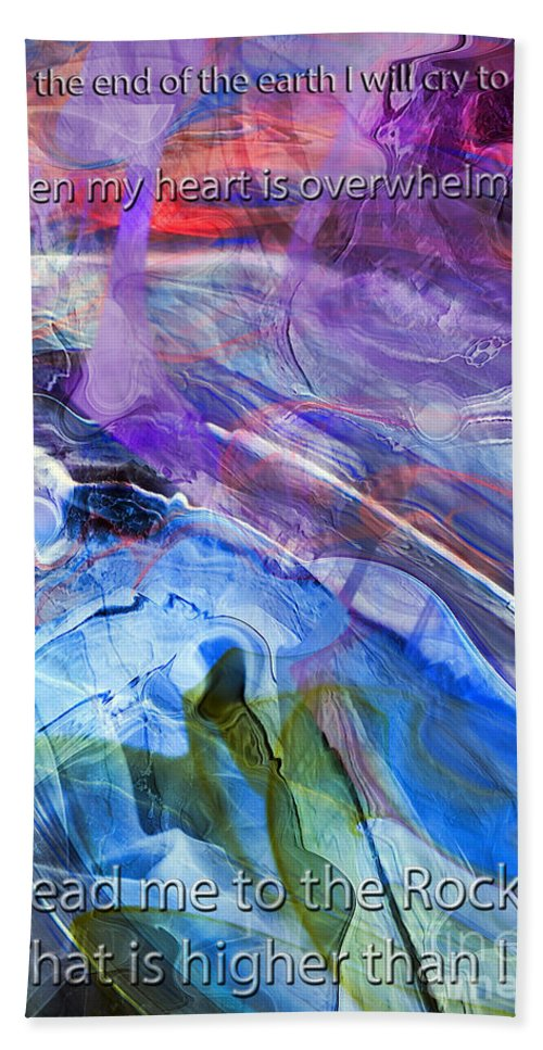Psalm 61vs 2 Hand Towel featuring the digital art Lead Me To The Rock-psalm 61vs2 by Margie Chapman