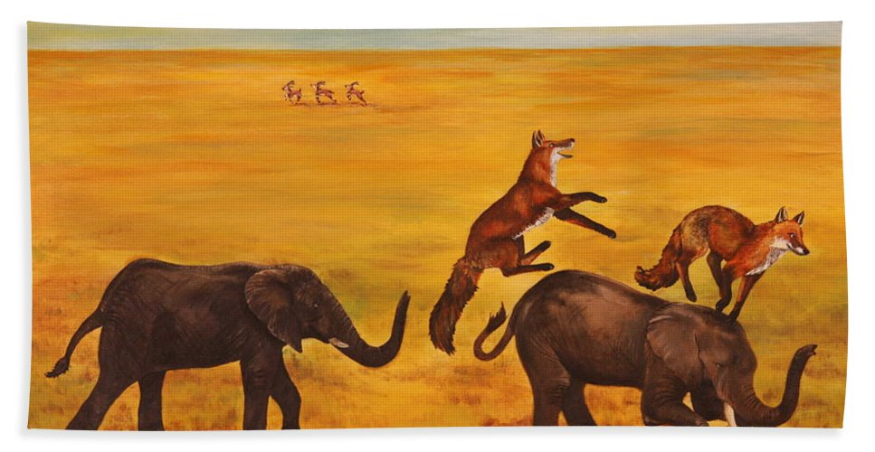 Fox Bath Towel featuring the painting Leap Frog by Michelle Miron-Rebbe