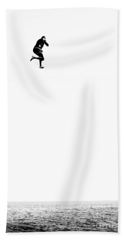 Active Hand Towel featuring the photograph Leap Of Faith by Stelios Kleanthous