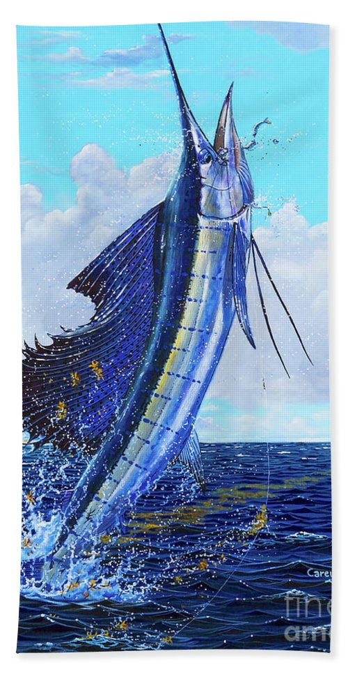 Sailfish Bath Sheet featuring the painting Leap Of Freedom Off0048 by Carey Chen