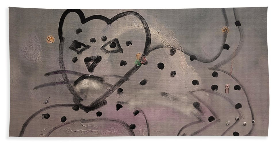 Leaping Leopard Hand Towel featuring the painting Leaping Leopard by Charles Stuart