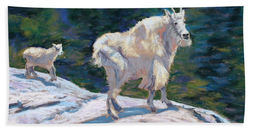 Mountain Goats Hand Towel featuring the painting Learning To Walk On The Edge by Mary Benke