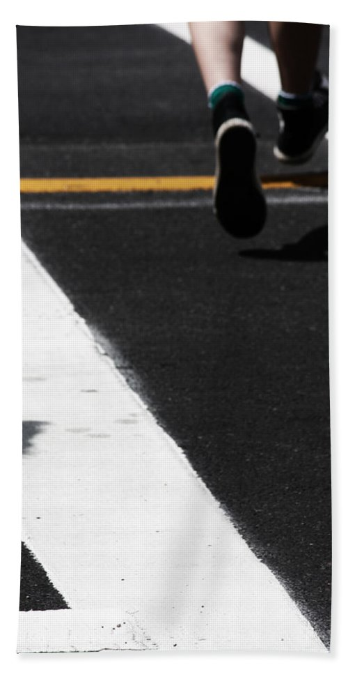 Street Photography Hand Towel featuring the photograph Leaving Leaps by The Artist Project