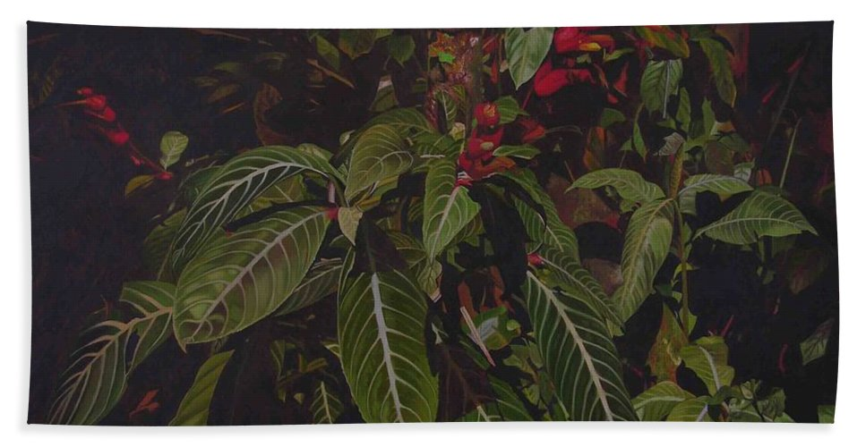Leaves Bath Sheet featuring the painting Leaving Monroe by Thu Nguyen