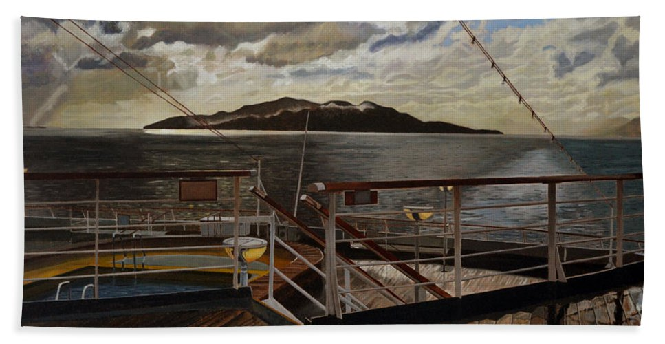 Queen Charlotte Sound Hand Towel featuring the painting Leaving Queen Charlotte Sound by Thu Nguyen