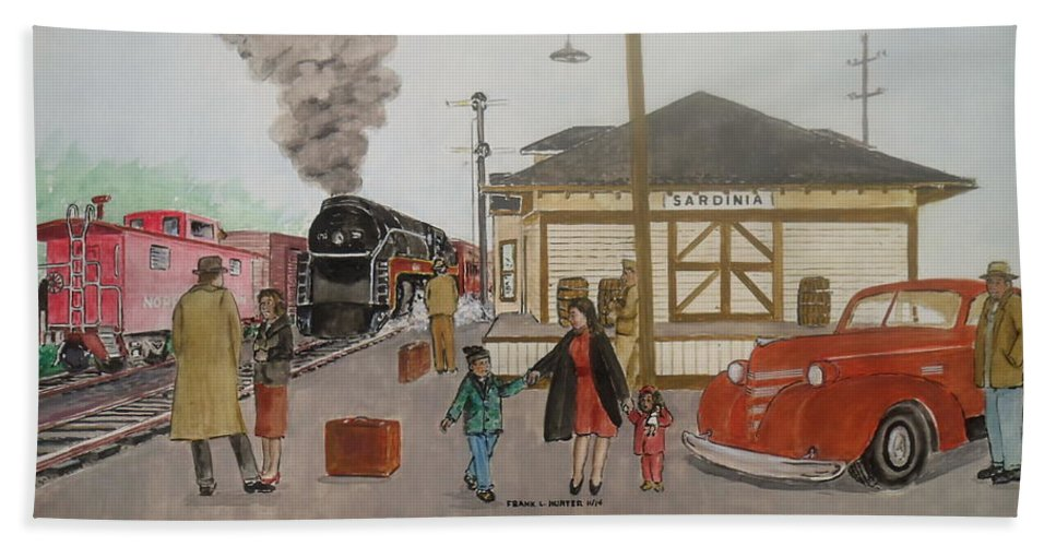 Sardinia Ohio To Portsmouth Ohio Norfolk And Western Railroad Class J Depot Frank Hunter Eleanor Hunter Louise Hunter Walker Jacobs 1939 Pontiac Caboose Steam Engine Family Passengers Travelers Bath Sheet featuring the painting Leaving Sardinia 1944 by Frank Hunter