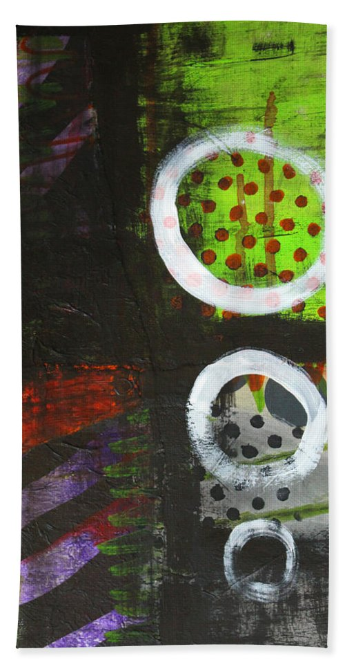 Abstract Bath Sheet featuring the painting Leaving The Dark Abstract by Nancy Merkle