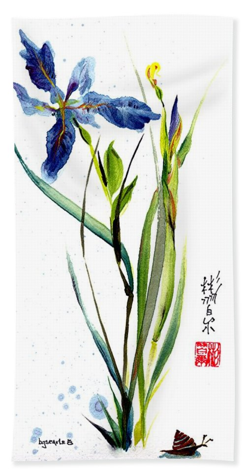 Chinese Brush Painting Bath Sheet featuring the painting Leaving Zen by Bill Searle