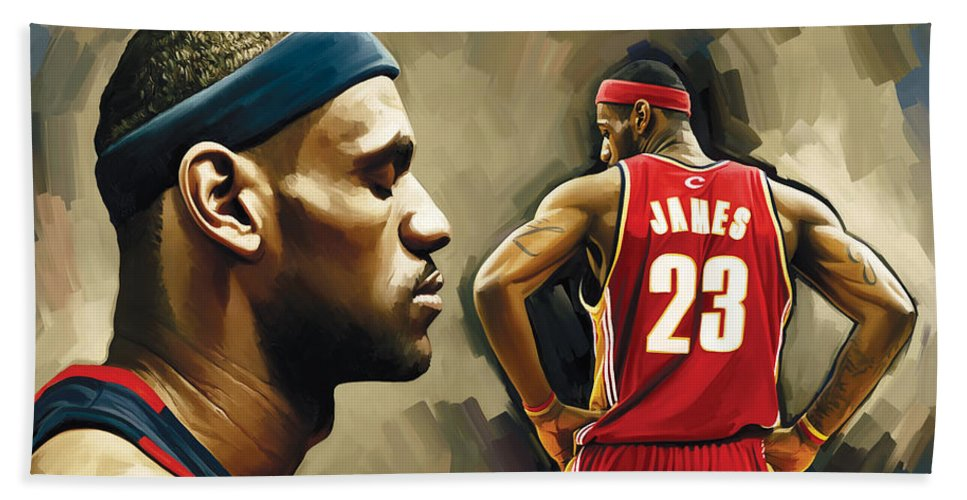 Lebron James Hand Towel featuring the painting Lebron James Artwork 1 by Sheraz A
