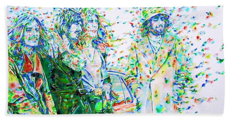 Led Bath Sheet featuring the painting Led Zeppelin - Watercolor Portrait.2 by Fabrizio Cassetta