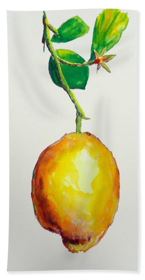 Lemon Bath Sheet featuring the painting Left Hanging by Shannon Grissom