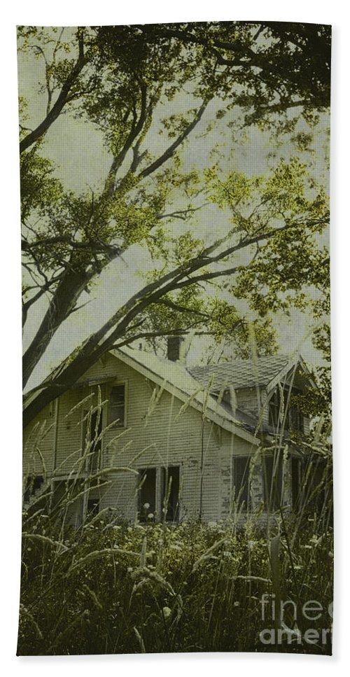House; Home; Small; Farm House; Wood; Falling Apart; Weeds; Grasses; Trees; Secluded; Abandoned; Desolate; Closed; Dark; Darkness; Ominous; Foreboding; Mystery; Mysterious; Deserted; Shroud; Shrouded; Covered; Enclosed; Green Hand Towel featuring the photograph Left In The Trees by Margie Hurwich