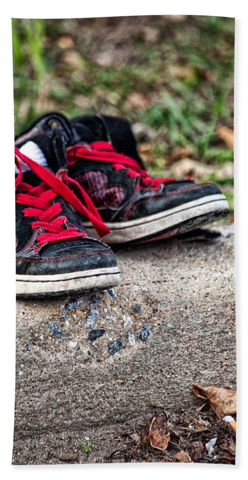 Sneakers Hand Towel featuring the photograph Left On The Curb by Karol Livote