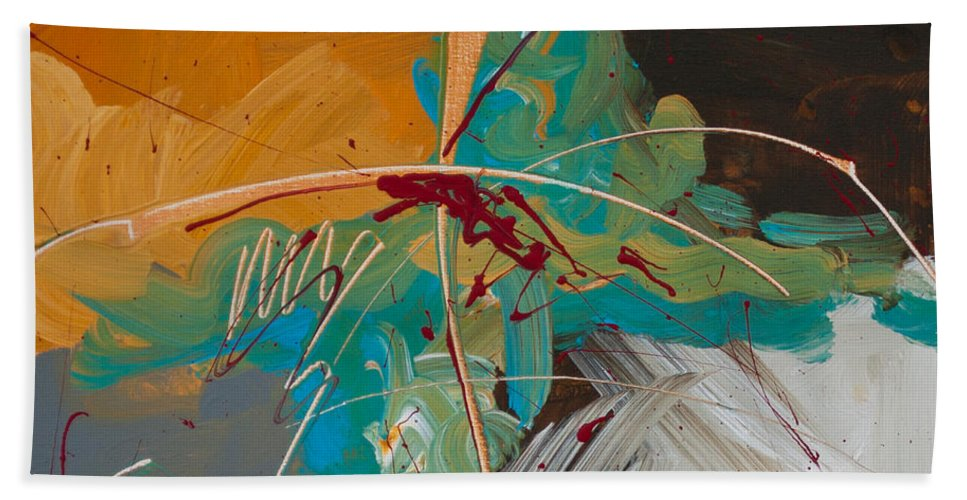Abstract Bath Sheet featuring the painting Leftover Dreams by Paulette B Wright
