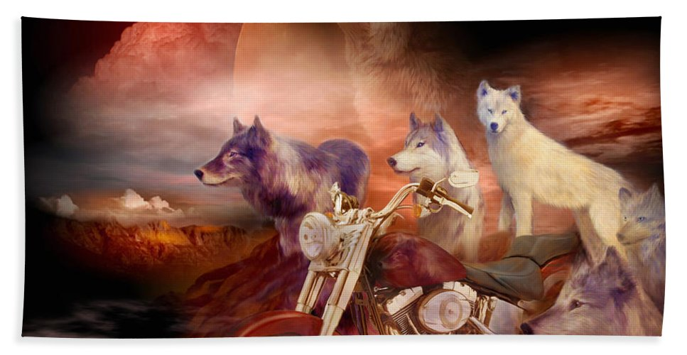 Wolf Hand Towel featuring the mixed media Legend Of Wolf Mountain by Carol Cavalaris