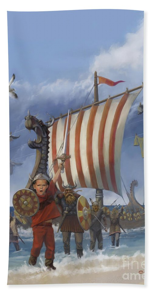 Viking Hand Towel featuring the painting Legendary Viking by Rob Corsetti