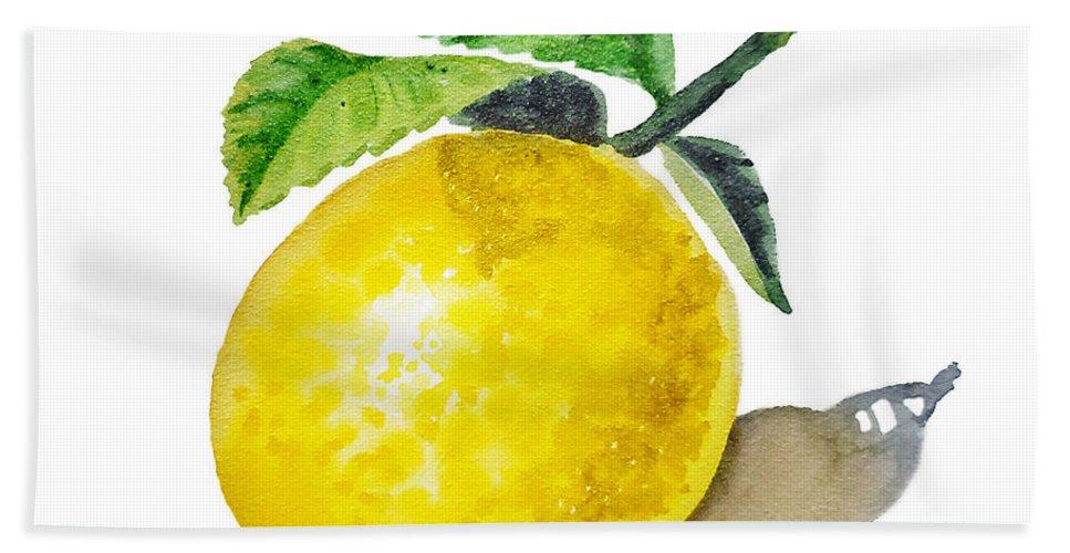 Lemon Bath Sheet featuring the painting Artz Vitamins The Lemon by Irina Sztukowski