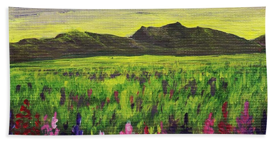 Calm Hand Towel featuring the painting Lemon Yellow Sunset by Anastasiya Malakhova