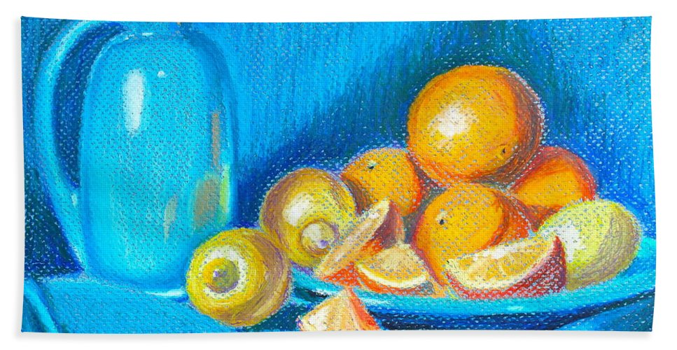Still Life Hand Towel featuring the pastel Lemons And Oranges by Tricia Lesky